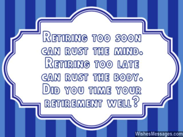Funny retirement quote card message