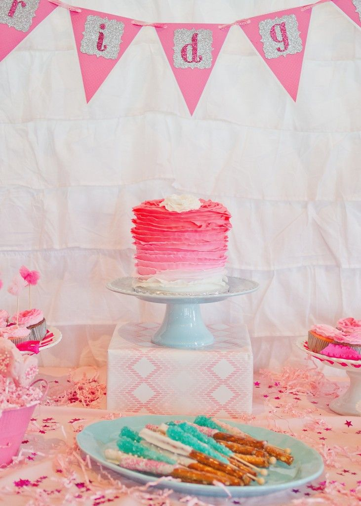 Pink #ombre cake - perfect for a girl's birthday or #valentinesparty: Ombre Cakes, Pink Ruffles, Pink Cakes, 1St Birthday, B S Pink, Pink Ombre, Ombre 1St, Birthday Party, Birthday Cakes