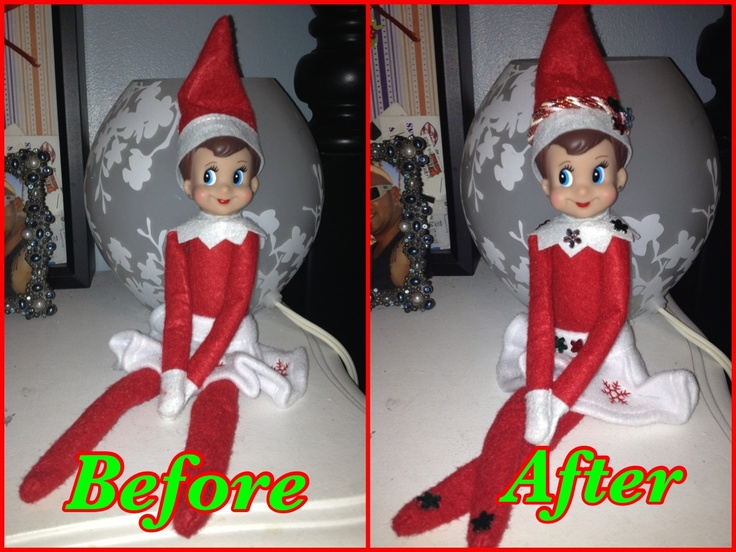 I had to make Bella's Elf a little more girly! Hope she loves her when she shows up on Thanksgiving with her Brother AJ!