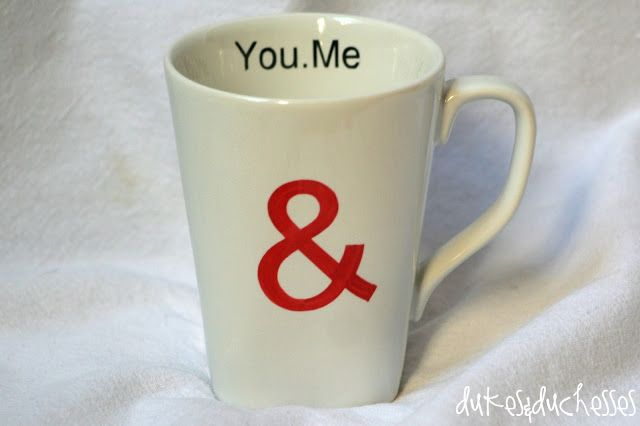 love mug with ampersand made with Sharpies {a Starbucks knock-off}