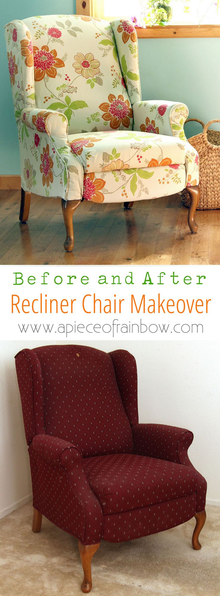 Dramatic before after transformation and detailed tutorial on how to makeover an upholstered recliner chair, and lots of helpful tips for beginners. A Piece Of Rainbow http://www.apieceofrainbow.com/fabric-chair-makeover-before-after/2/