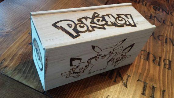 Woodburned Pokemon Deck Box   https://www.etsy.com/listing/227968290/woodburned-pokemon-themed-deck-box-for  Mtg, yugioh, wood, handmade