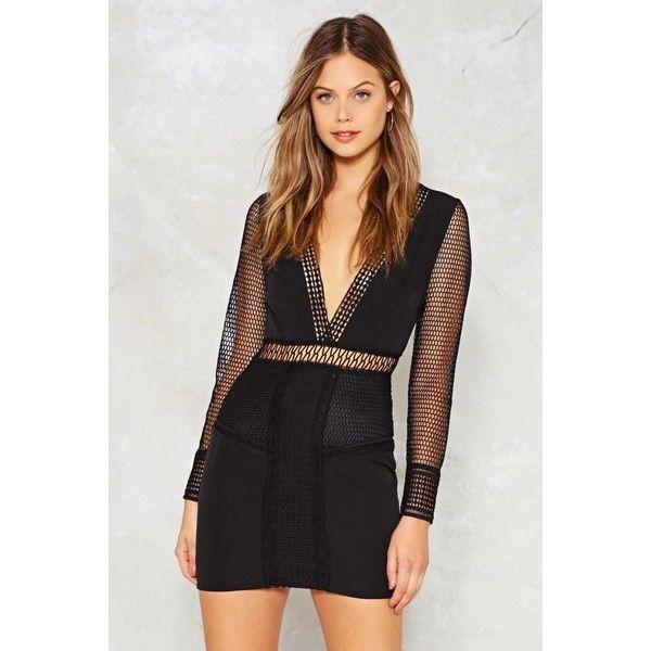 Nasty Gal Let's Net to It Fishnet Dress (€51) ❤ liked on Polyvore featuring dresses, black, plunge bodycon dress, plunging v neck dress, v neck mini dress, sheer dress and v neckline dress