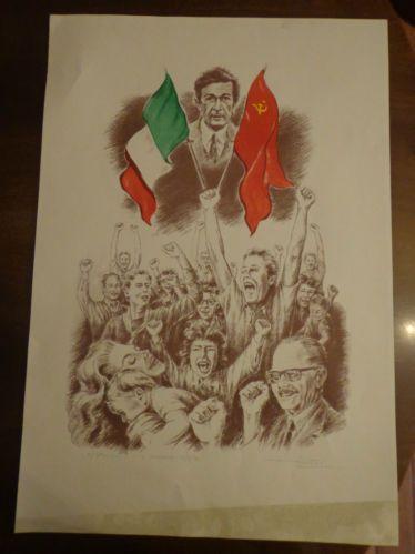 IL SORPASSO litografia colori BERLINGUER 63,5x43,5 firmato TOLOMEO LIBERATORI