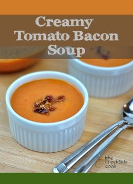 {USA} This is so fast and easy - ready in 25 minutes!  Creamy Tomato Bacon Soup | The Creekside Cook