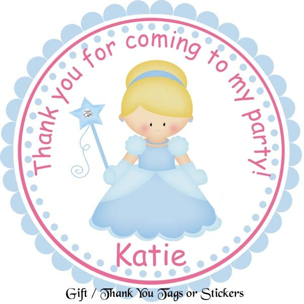 Princess Cinderella - Personalized Stickers, Party Favor Tags, Thank You Tags, Gift Tags, Address labels, Birthday, Baby Shower. $6.00, via Etsy.