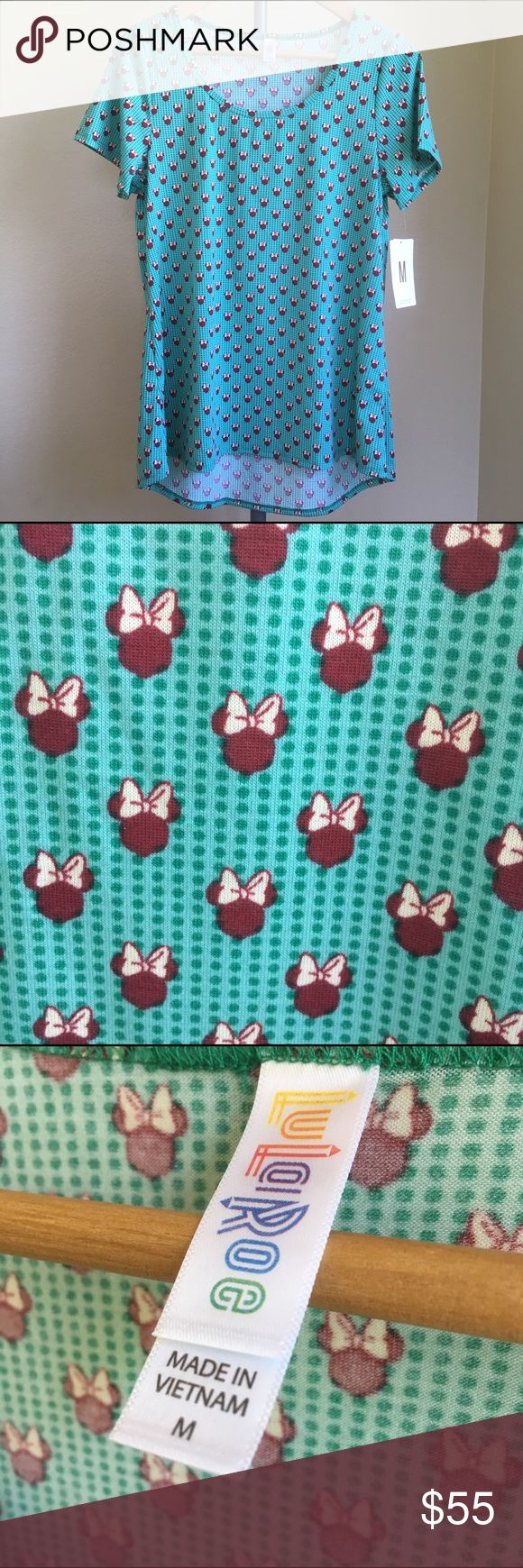 LulaRoe Disney Classic T Minnie Mouse LulaRoe Disney Classic T. Brand new with tags, medium sized shirt. Soft and comfy material. Light blue/green color with maroon colored Minnie Mouse heads. LuLaRoe Tops Tees - Short Sleeve