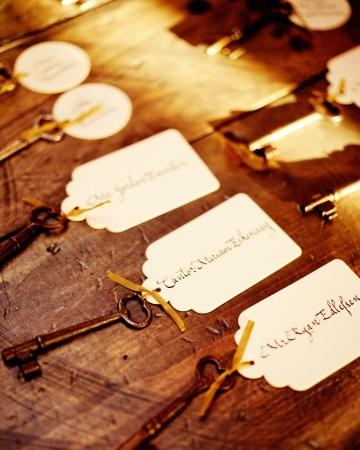 Vintage name card idea: iron skeleton keys + calligraphed name tags beautiful