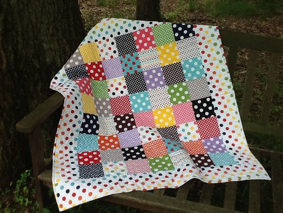 Polka Dot Baby Toddler Quilt Bright Dot Crib by Clothstitched