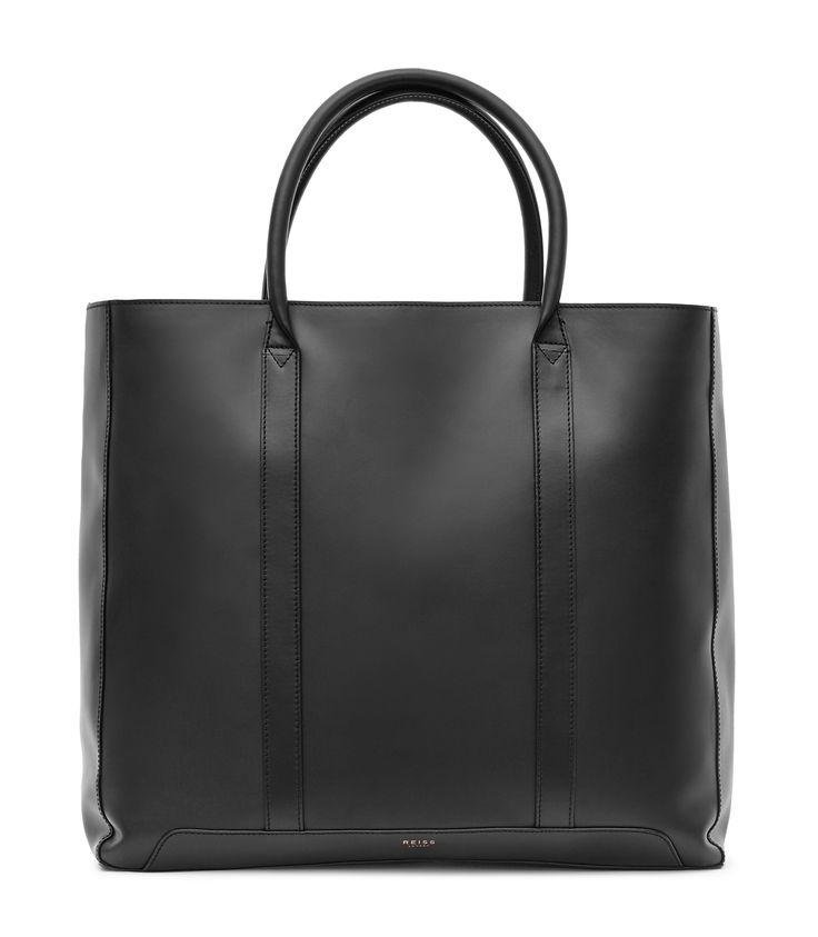 Mens Black Leather Tote Bag - Reiss Runner