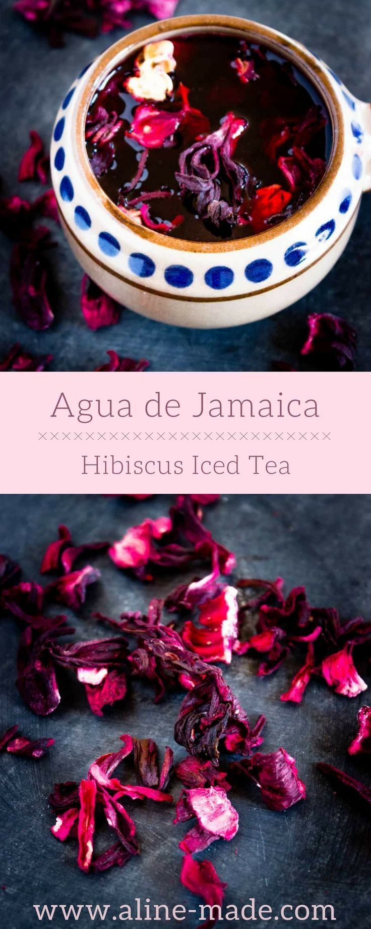Agua de Jamaica or Hibiscus Iced Tea. It's made of dried hibiscus flowers, which are called Flor de Jamaica in Mexico. A straightforward procedure, you just have to add dried hibiscus flowers into boiling water, leave them to steep for 10 minutes, add some sugar and pour your mixture through a sieve. Finished. You can either drink it warm or serve it cold.