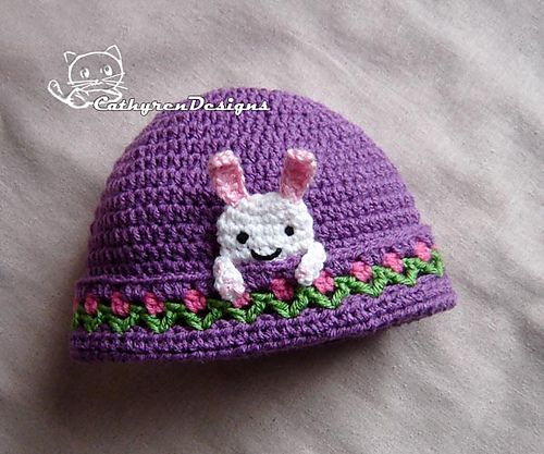 Bunny Beanie with Flower Buds Around, Size New Born - Adult $3.99