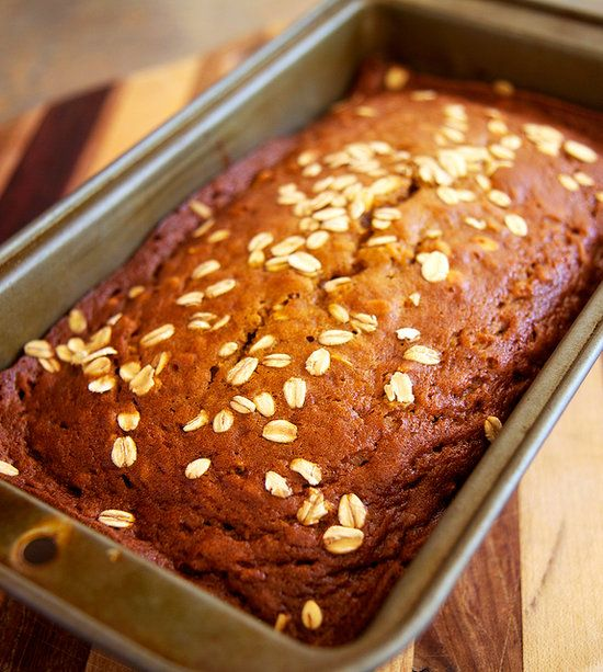 Our new favorite pumpkin bread recipe: oatmeal pumpkin spice bread. This recipe is made healthy by using the goodness of oats, which adds a nutritious punch of fiber and an interesting, chewy texture, making this pumpkin bread slightly denser and more filling than the usual loaf.