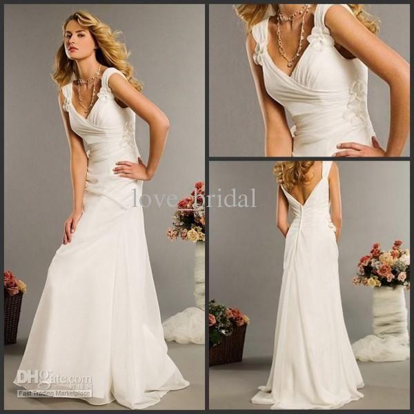 Spectacular  Beach Wedding Dresses Casual Custom Made A line V neck Flowers Floor Length