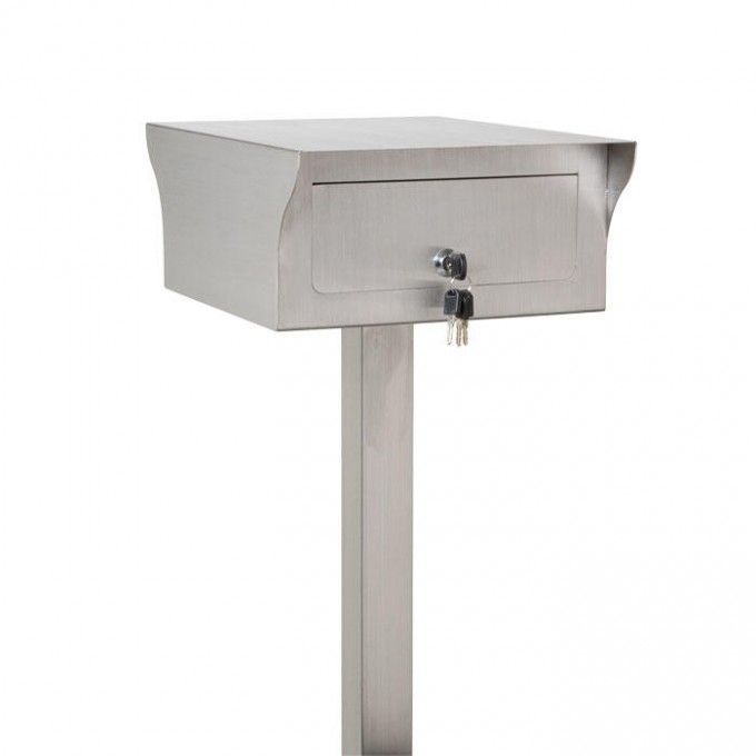 Bremerton Stainless Steel Mailbox and Post Set - Brushed Stainless Steel