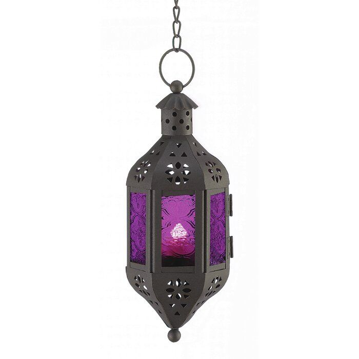 Amethyst Glass And Metal Lantern In 2020 Hanging Lanterns Lantern Set Moroccan Hanging Lanterns