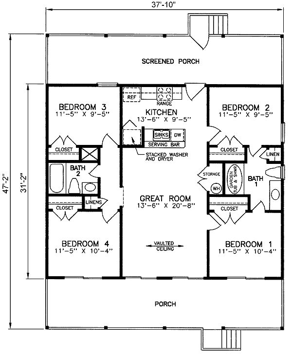 Expand the bedroom(s) a bit more and it wouldn't be too bad.                                                  House Plan chp-24195 at COOLhouseplans.com