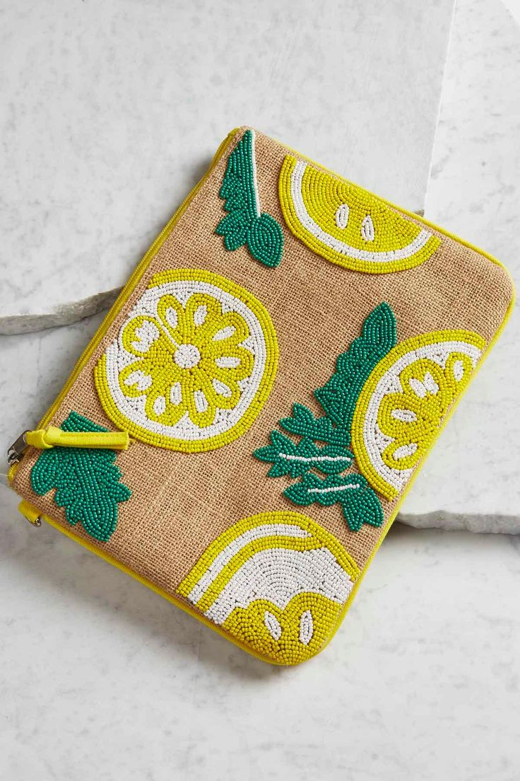 Beaded Lemon Burlap Clutch - summer party accessory love #versona
