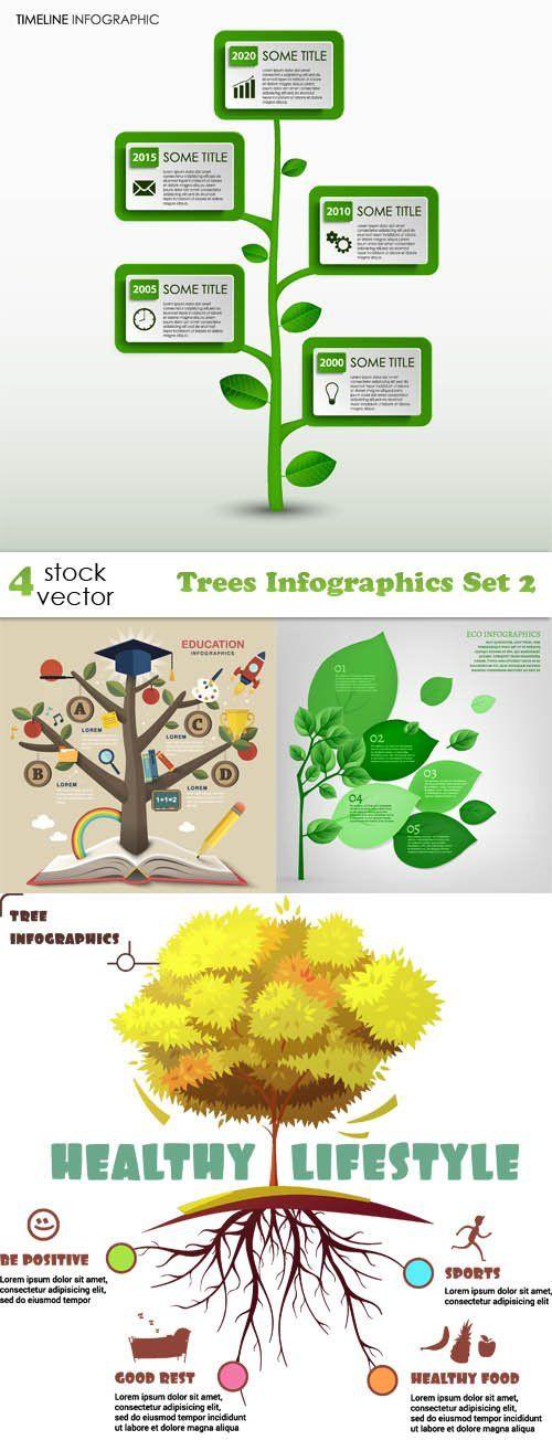 Vectors - Trees Infographics Set 2
