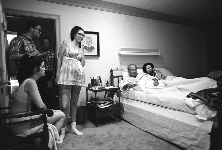 The Vietnam War: The Pictures That Moved That Most:  YOICHI OKAMOTO - As tens of thousands of anti-war protestors rioted in Chicago during the 1968 Democratic National Convention, President Johnson and his family watched from the bedroom at his ranch in Stonewall, Texas. Yoichi Okamoto—LBJ Library