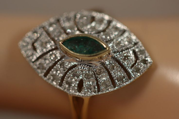 DESIGNER 14K YELLOW WHITE GOLD .52CTW MARQUISE EMERALD DIAMOND RING 14KT SZ 6  #YMG #Cocktail