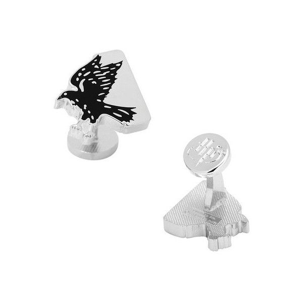 Men's Cufflinks Inc Ravenclaw House Raven Cufflinks ($65) ❤ liked on Polyvore featuring men's fashion, men's accessories, cuff links, metal, silver and mens cuff links
