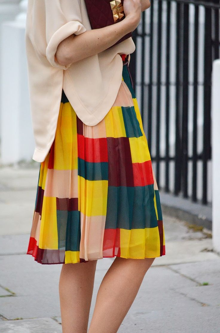 Autumn colour midi skirt