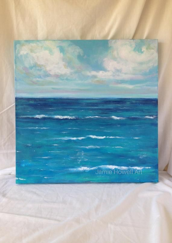 Whisper Of White Caps 20x20 Acrylic On Canvas By Jamie Howell Original Painting Not A Print Giclee Or Re Ocean Painting Abstract Canvas Painting Sea Painting