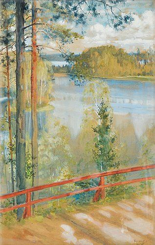 ALBERT EDELFELT Lake Landscape from Kaukola, Saaris (1890)