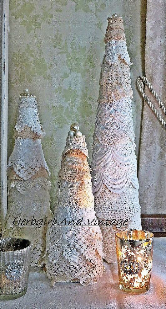 Lace Scrap Christmas Trees - I got out my lace stash and covered Styrofoam cones to make Christmas trees. They are topped with pearls from vintage jewelry. It w…