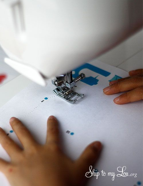 Sewing practice for kids: dot-to-dot and a maze help teach straight stitches and turns!