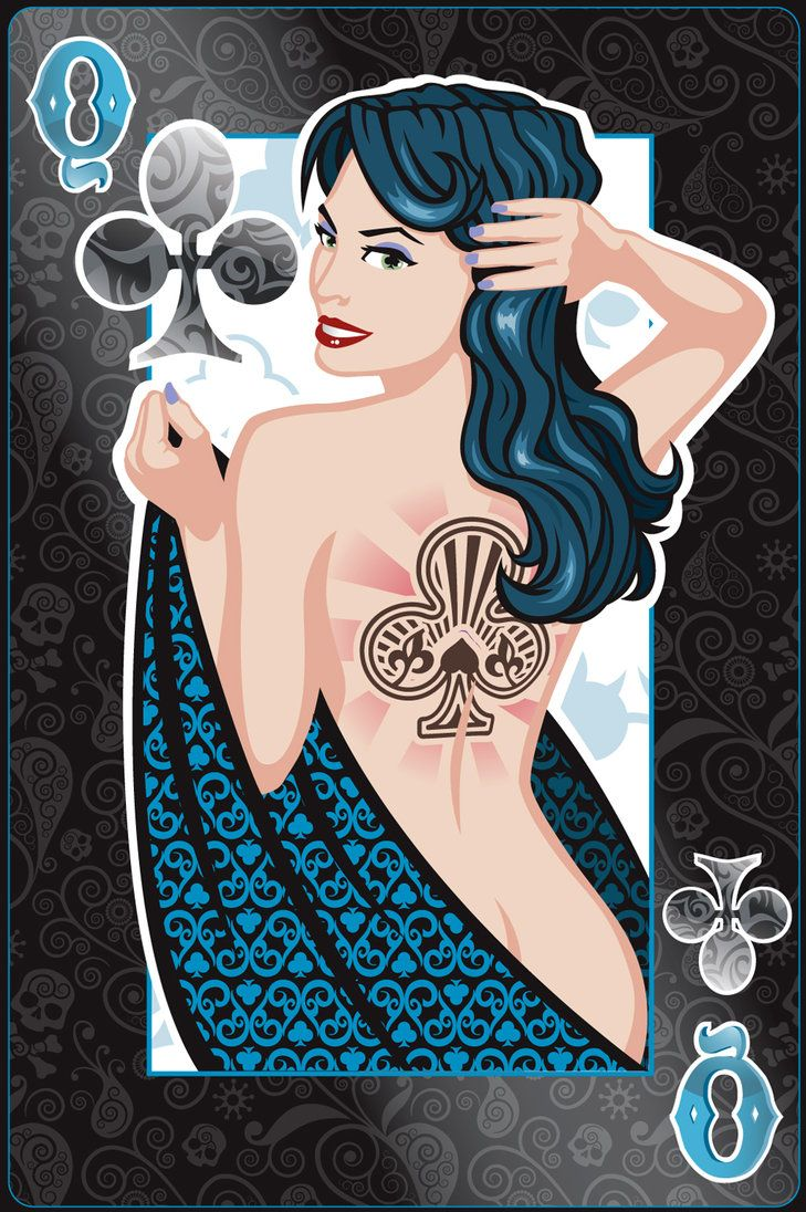 These are Pin-Up playing card Queens created by an American artist, Jeff Chapman (Jeffach). He is a big admirer of women proceeding from his artworks. The queens happened to be vivid with substanti...
