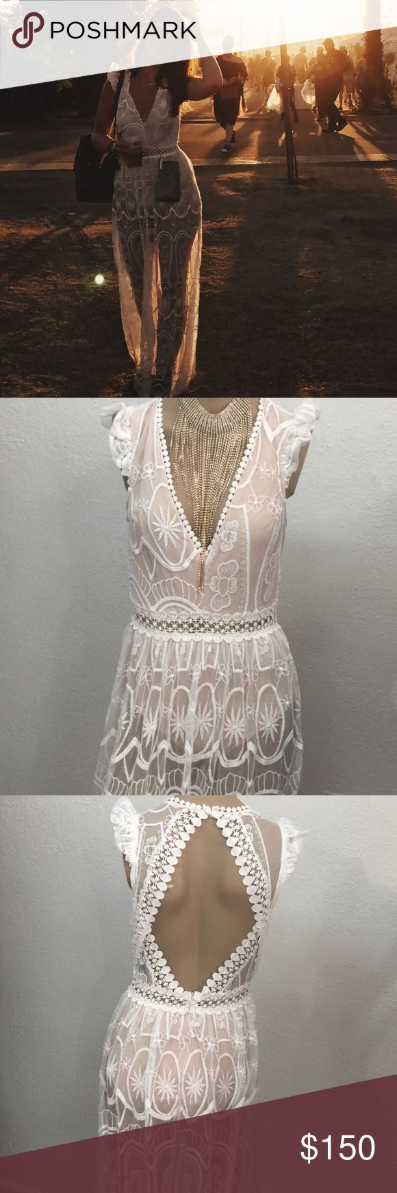 White Lace Nude Illusion Maxi Dress Festival Style Worn only once to Coachella 2017. Sheer with built in bodysuit lining with snap closure, key-hole back and low V neckline. L'atiste Dresses Maxi