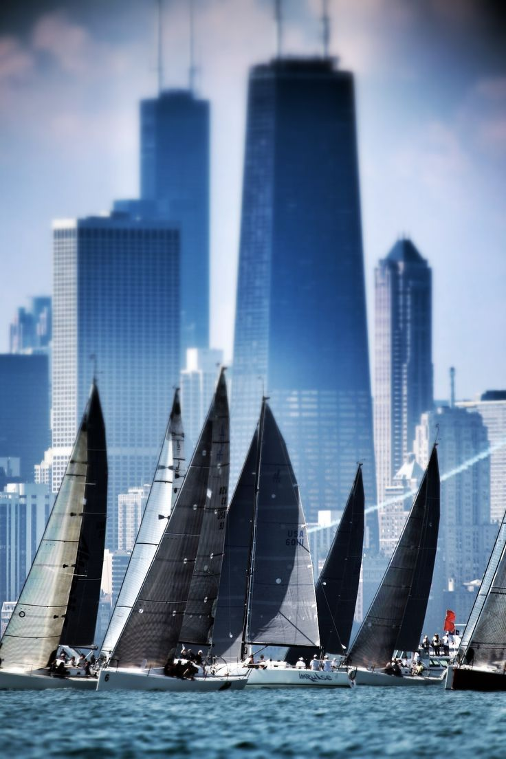 Chicago, Illinois, USA....Sailboat races near Chicago Shore, Lake Michigan