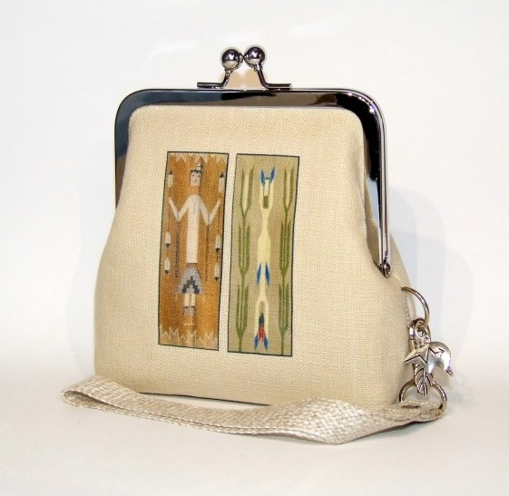 Clutch Wallet Wristlet in Natural Linen - Navajo Yei Figures on Green and Brown, #thecraftstar