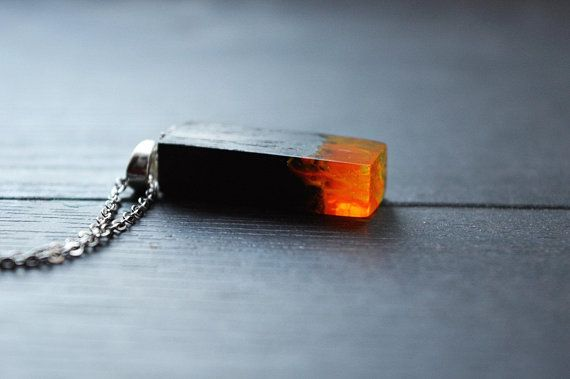 Hand made wooden pendant amber amulet,made out of natural materials