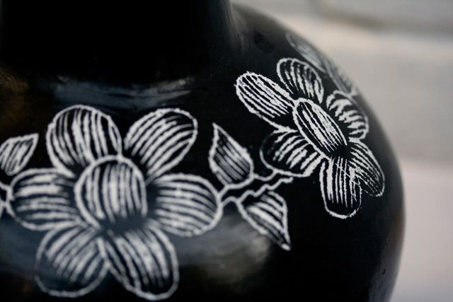 [Karen Barbé · Textile designer · Quinchamali pottery – jug detail]