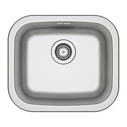 "FYNDIG single-bowl inset sink, stainless steel Length: 17 3/4 "" Depth: 15 3/8 "" Height: 5 7/8 "" Length: 45 cm Depth: 39 cm Height: 15 cm"