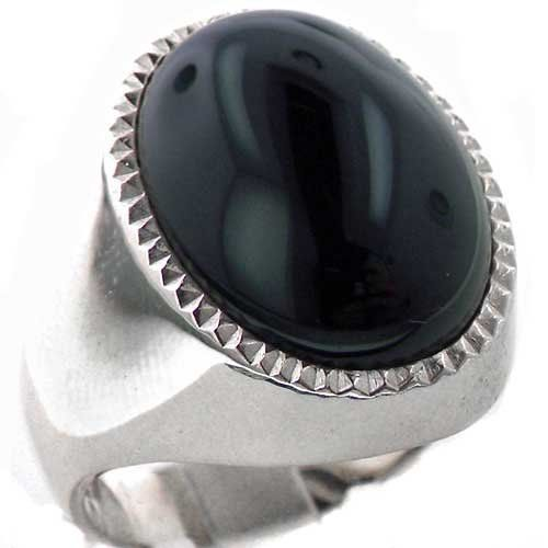 Gents Solid 925 Sterling Silver Large Natural Cabouchon Onyx Mens Signet Ring, Made in England - Size S - Finger Sizes O to Z+3 Available