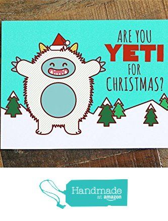 Funny Christmas Card - Are you Yeti for Christmas? - pun card, cute yeti, funny holiday card, xmas cards, greeting card, happy holidays from TIny Bee Cards http://www.amazon.com/dp/B016LQOSUE/ref=hnd_sw_r_pi_dp_dbvnwb17YY04P #handmadeatamazon