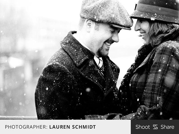 Love this black and white winter engagement photo with falling snow! #engagement #engagementphoto #shootandshare #wedding #shootandshare  |  Photographer: Lauren Schmidt  |  laurennicolephoto.com  |  Camera: Canon 7D  |  Lens: EF50mm f/1.4 USM  |  Aperture: f/1.6  |  Exposure: 1/200  |  ISO: 100  |  Flash: No  |  Shoot and Share