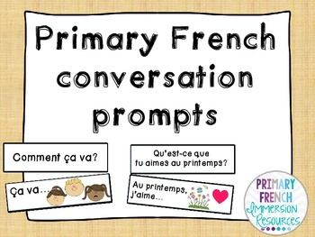 French discussion prompts - question and answer cards  File includes word wall/pocket chart sized cards with questions and sentence starters to help students to answer each question.   Cards suitable for grades 1 and 2 French immersion, and grades 4 and 5 core French.