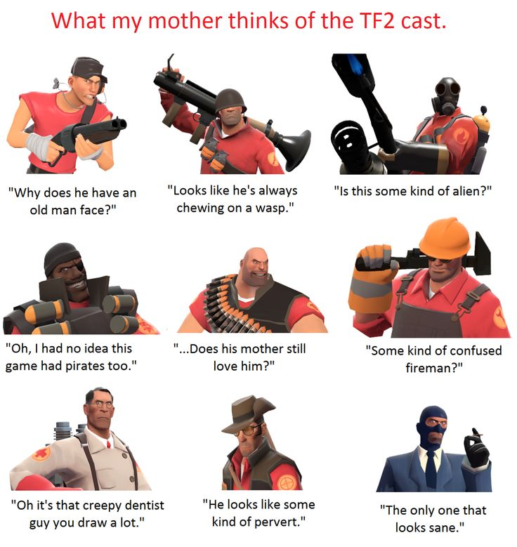 "davespritebudgie: "" wilsonreject: "" teemfurtressdoo: "" Whenever my mother sees me drawing or playing TF2, she always makes some remark about how ""weird"" it is to her. Normally I'd roll my eyes and..."
