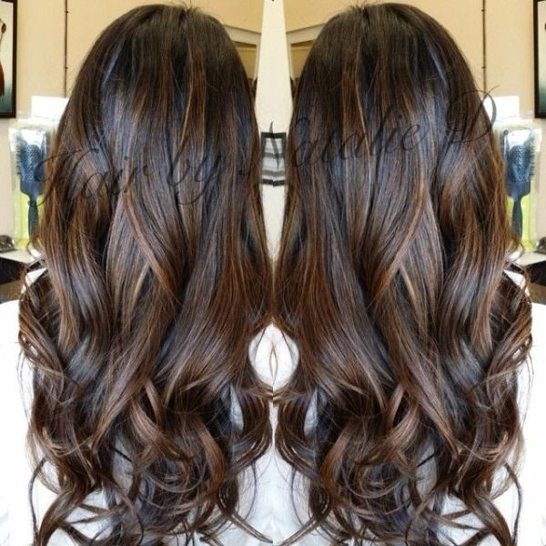 Perfect balayage for black hair!! natalied_makeup_hairs photo on Instagram by rena