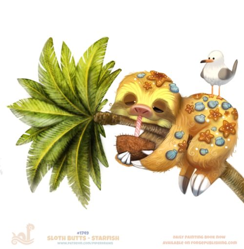 Daily Painting 1749# Sloth Butts - StarfishDaily Paintings Book now available: http://ForgePublishing.com/shop  For full res WIPs, art, videos and more: https://www.patreon.com/piperdraws  Twitter • Facebook • Instagram • DeviantART