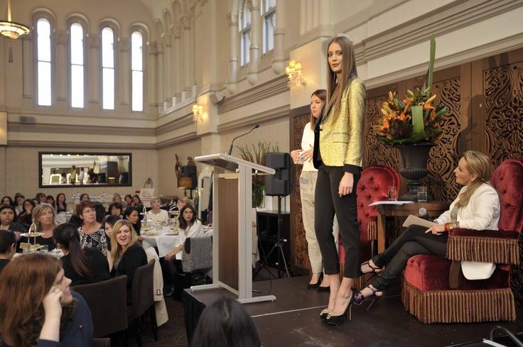 Trend: Metallics  Model wears #Zeitgeist jacket, top & pants, #colette by colette hayman necklace and #Siren at Freelance Shoes heels.   #qvb #metallics #fashion #gold #blazer