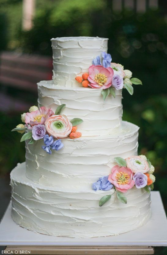 Rustic Wedding Cake with exquisite sugar flowers by Erica O'Brien