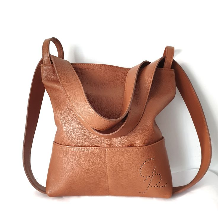 Photo of Backpack bag convertible in leather leather. Women's handmade soft leather bags. Italian Craft Leather Gift Idea from Ganza