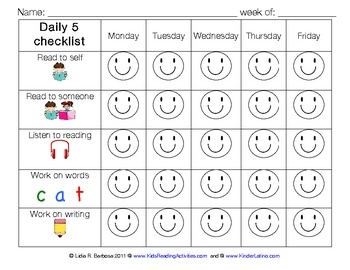 FREE!!! Use this recording sheet to help your students self-monitor during your Daily 5 routine.  The student will color the happy face when each task is c...