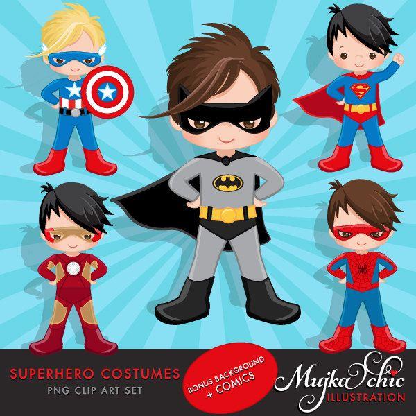 Superhero Costumes Clipart – Superhero comic bubbles, splash background & cute characters. by mujka on Etsy